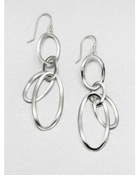 Ippolita | Metallic Glamazon Scultura Sterling Silver Open Oval Link Drop Earrings | Lyst