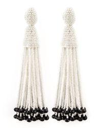 Oscar de la Renta | White Beaded Long Tassel Earrings | Lyst