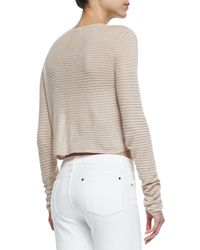 Alice + Olivia - Brown Ribbed Knit Crop Top - Lyst