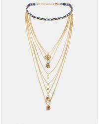 ASOS | Metallic Pyramid Choker And Multirow Charm Necklace | Lyst
