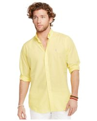Polo Ralph Lauren - Yellow Poplin Shirt for Men - Lyst