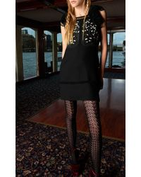 Giamba   Black Lily Embroidered Dress With Lace Trim   Lyst