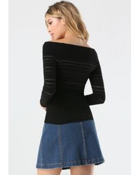 Bebe | Black Logo Off Shoulder Sweater | Lyst