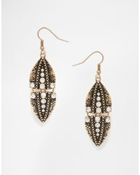 Oasis | Metallic Pave Arrowed Drop Earrings | Lyst