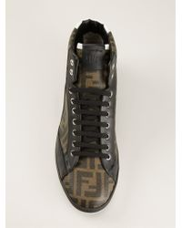 Fendi - Black 'Wimbledon' Hi-Top Sneakers for Men - Lyst