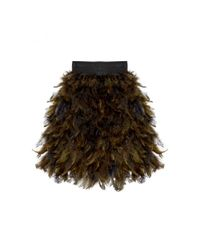 Alice + Olivia - Green Cina Hen Feather Mini Skirt - Lyst