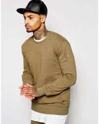 Criminal Damage | Green Shoreditch Sweatshirt With Distressing for Men | Lyst