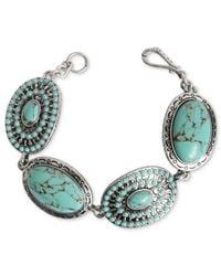 Lucky Brand | Metallic Silver-tone Turquoise Stone Flex Bracelet | Lyst