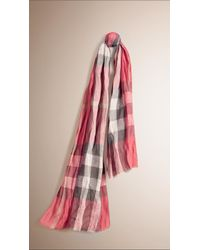 Burberry | Pink Check Linen Scarf | Lyst