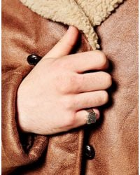 ASOS - Metallic Pinky Ring With Shield for Men - Lyst