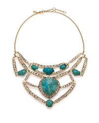 Alexis Bittar | Blue Miss Havisham Mosaic Chrysocolla & Crystal Articulated Geometric Bib Necklace | Lyst