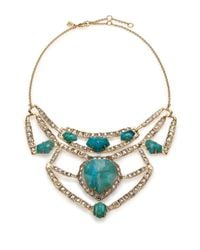 Alexis Bittar | Blue Miss Havisham Mosaic Chrysocolla & Crystal Articulated Geometric Bib Necklace | Lyst
