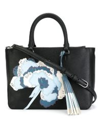 Tory Burch | Black 'robinson' Floral Appliqué Tote | Lyst