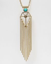 "Rebecca Minkoff - Metallic Boho Blade Fringe Necklace, 30"" - Lyst"