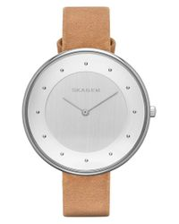 Skagen | Natural 'gitte' Round Slim Leather Strap Watch | Lyst