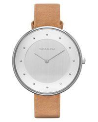 Skagen   Natural 'gitte' Round Slim Leather Strap Watch   Lyst