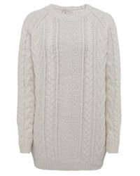 Barbour   Natural Kirkby Cable Crew Jumper   Lyst