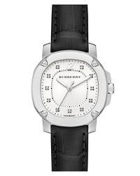 Burberry - Black Diamond Dial Alligator Strap Watch - Lyst