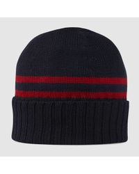 976df1da71b90 Gucci Knit Hat With Web Detail in Blue for Men - Lyst
