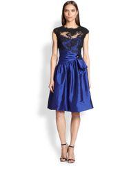 Teri Jon - Blue Lace & Taffeta Dress - Lyst