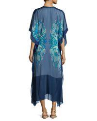Meng - Blue Printed V-neck Long Caftan - Lyst