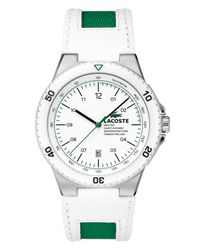 Lacoste | Men'S Toronto White Leather And Green Canvas Strap 2010563 for Men | Lyst