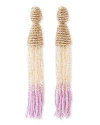 Oscar de la Renta - Multicolor Long Ombrebeaded Tassel Earrings Almondcreamlilac - Lyst