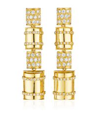 Faraone Mennella | Metallic 18k Yellow Gold Bullet Earrings with White Diamonds | Lyst