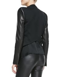 Helmut Lang - Black Leather-Sleeve Wool Tuxedo Jacket - Lyst