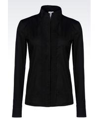 Armani - Black Shirt In Cotton Poplin - Lyst