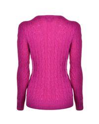 Polo Ralph Lauren - Pink Cable Cotton Knit Jumper - Lyst