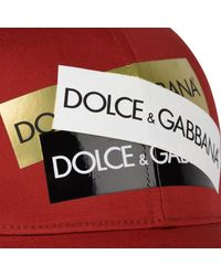 Dolce & Gabbana - Red Logo Tape Cap for Men - Lyst