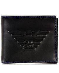 Emporio Armani - Black Eagle Debossed Wallet for Men - Lyst