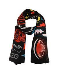 KENZO - Black Tiger Silk Scarf - Lyst