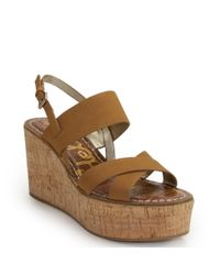 Sam Edelman - Brown Cork Wedge Sandal - Lyst