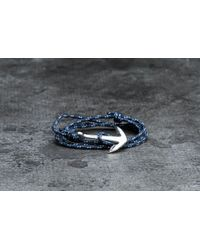 Footshop - Metallic Miansai Anchor On Rope Bracelet Silver/ Indigo for Men - Lyst