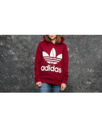 Adidas Originals Red Adidas Trefoil Hoodie Collegiate Burgundy