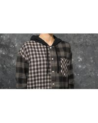 Stussy Gray Cashed Hooded Flannel Shirt Multicolor for men