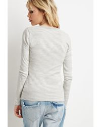 Forever 21 - Natural Buttoned Stripe-patterned Tee - Lyst