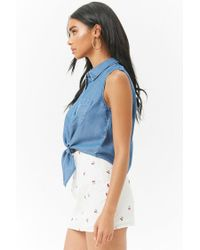 Forever 21 - Blue Chambray Sleeveless Tie-front Shirt - Lyst