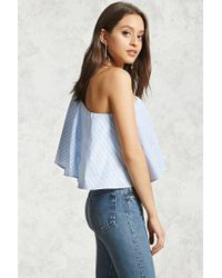 Forever 21 - Blue Striped One-shoulder Top - Lyst