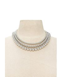 Forever 21 - Metallic Beaded Layered Necklace - Lyst