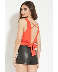 Forever 21 | Red Crisscross Tie-back Top | Lyst