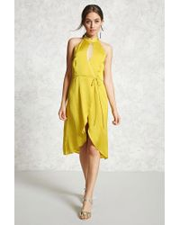 Forever 21 - Yellow Women's Contemporary Satin Wrap Dress - Lyst