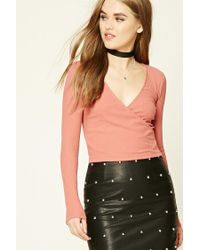 Forever 21 | Pink Ribbed Knit Surplice Top | Lyst