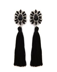 Forever 21 - Black Faux Gem Rhinestone Tassel Drop Earrings - Lyst