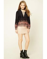 Forever 21 - Black Lace-up Damask Print Top - Lyst