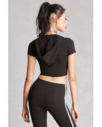 Forever 21 - Black Hooded Crop Top - Lyst