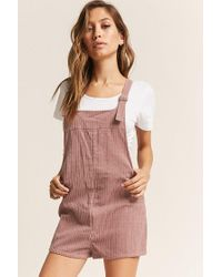 Forever 21 Multicolor Buttoned Corduroy Overalls , Blush