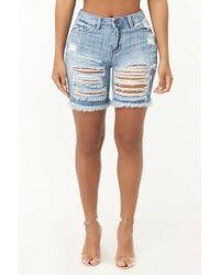 Forever 21 - Blue Distressed High-rise Denim Shorts - Lyst